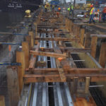 Post Panamax crane rail foundation and rail formwork