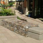Bridgeport Village Benches, sandblast, architectural, integral color, concrete