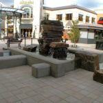 Bridgeport Village Fountain, sandblast, integral color, architectural, concrete